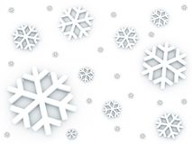 Snow falling down pattern. 3D Snow falling down pattern in white background Stock Photos