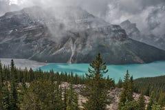 Snow falling on Emerald Lake, Canadian Rockies Stock Image