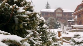 Snow falling fir tree branches, wooden cottages on background. Heavy snowfall at mountain village ski resort. Cold. Frosty winter day in the mountains stock video