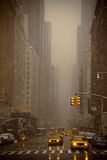 Snow falling in New York Stock Photo