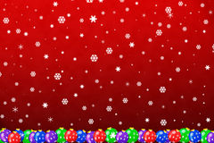 Snow falling on ornaments Royalty Free Stock Photo
