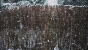 Snow falling outdoors against brown background slow motion stock footage