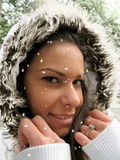 Snow falling over the face Royalty Free Stock Images