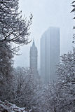 Snow falling over trees and buildings Stock Images