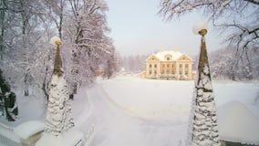 Snow falling on the Palmse manor in Estonia stock video