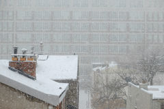 Snow falling on Philadelphia Rooftops Stock Photography