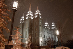 Snow falling in Salt Lake City Royalty Free Stock Photo