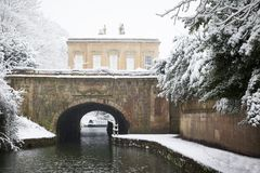 Snow Falling in Sydney Gardens, Bath stock image