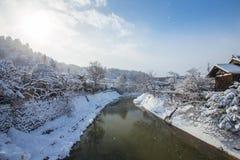 Snow is falling in Takayama, Japan.  Stock Photo