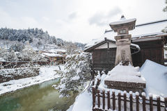 Snow is falling in Takayama, Japan Stock Images