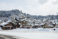 Snow is falling in Takayama, Japan Royalty Free Stock Photo