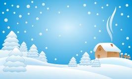 Snow falling on the trees. Illustration Stock Photos