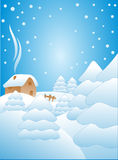 Snow falling on the trees. Illustration Royalty Free Stock Images