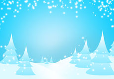 Snow falling on the trees. Art background blue card celebrate Stock Photo