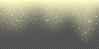 Snow falling vector background of golden sparkling snowfall and glittering snowflakes. Vector abstract glowing gold glitter. Particles pattern background for Stock Photo