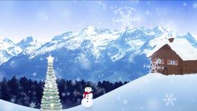 Snow falling in a winter scenery stock video