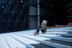 Snow falling Stock Photo
