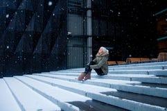 Snow falling Stock Photo