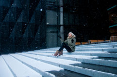 Snow falling Stock Images