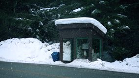 Snow Falls On Bus Shelter Near Forest. Snowing on bus shelter in snow covered rural area stock footage