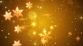 Snow falls and decorative snowflakes. Winter, Christmas, New Year. Warm colors. 3D animation stock video footage