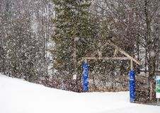 Snow falls early in the season at a ski hill stock images