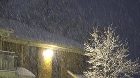 Snow falls at night in the street with lanterns. Snow storm falls snow at night stock video