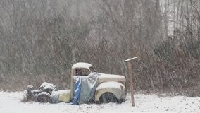 Snowfall on the & x27;47. Snow falls on this & x27;47 Studebaker. Nothing new for this ole gal Royalty Free Stock Photo