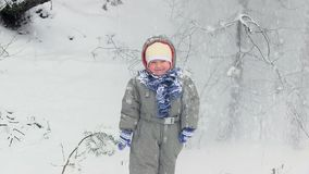 The snow falls from the trees on the child. stock footage