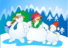 Snow family Stock Images