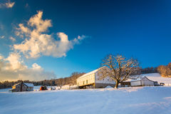 Snow on a farm in rural York County, Pennsylvania. Royalty Free Stock Image