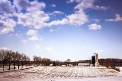 Snow farm in the winter sunshine. royalty free stock photo