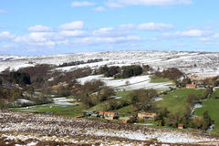 Snow on the fells in spring, North Yorkshire. Royalty Free Stock Photo