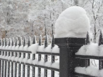 Snow fence. Column of the fence covered with snow, close-up Royalty Free Stock Image