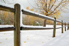 Snow fence. Early snow fall in Colorado.  Snow on a fence Royalty Free Stock Photography