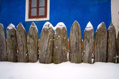Snow fence. Near the old house in the museum of architecture and life nearodnoy Pirohovo stock photos