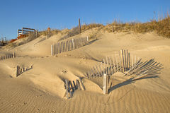 Snow fence on the beach at Nags Head, North Carolina Royalty Free Stock Photography