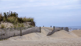 Snow fence on beach Royalty Free Stock Photography