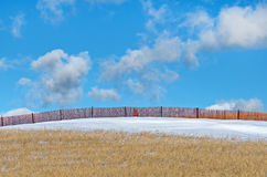 Snow Fence in Field Royalty Free Stock Photography