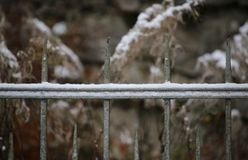 Snow On Fence Stock Image