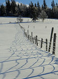 Snow Fence Shadows Landscape Stock Image
