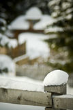 Snow on fence in winter scene Royalty Free Stock Photography