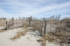 Snow Fences Along The Beac. Snow fences line the sand dunes along Myrtle Beach, South Carolina Royalty Free Stock Images