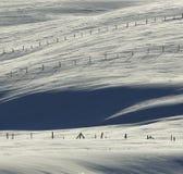 Snow Fences Winter Fields Stock Photos