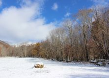 Snow in the Field. With a bail of hay Royalty Free Stock Images