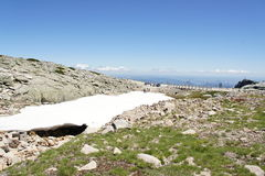 Snow field near the highest point of Portugal Torre (1993 m) Royalty Free Stock Image
