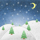 Snow field night recycle paper craft. For background Stock Photo