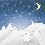 Snow field night with snowman recycle paper craft Stock Image
