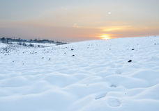 Snow field at sunset Stock Photo