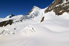 Snow fields of the Jungfrau in the Swiss Alps Royalty Free Stock Image